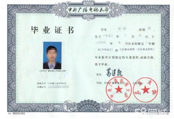 中央广播电视大学毕业证