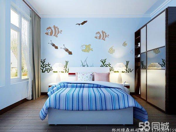 绿森林硅藻泥卧室床头图片展示