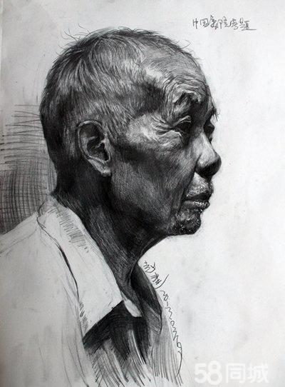 素描老人头像侧面