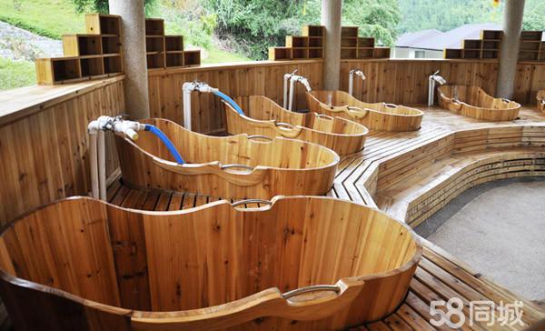 (3)露天温泉木桶浴,赠送木桶一次性材料