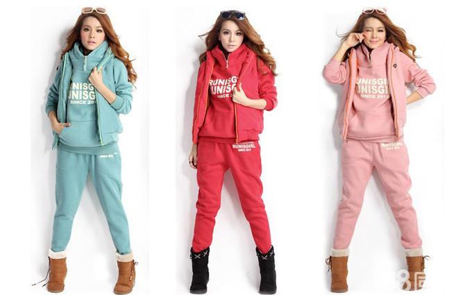 闲连帽加绒加厚卫衣套装三件套,裤子 马甲 卫衣,红色 粉红色 深灰