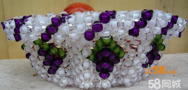 手工串珠果盆葡萄花形水果篮亚克力材料天然绿色