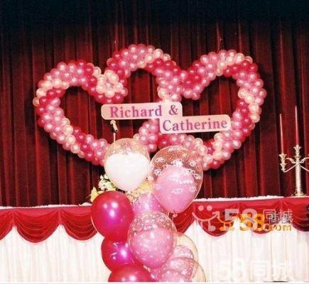 结婚室内气球彩带布置图片