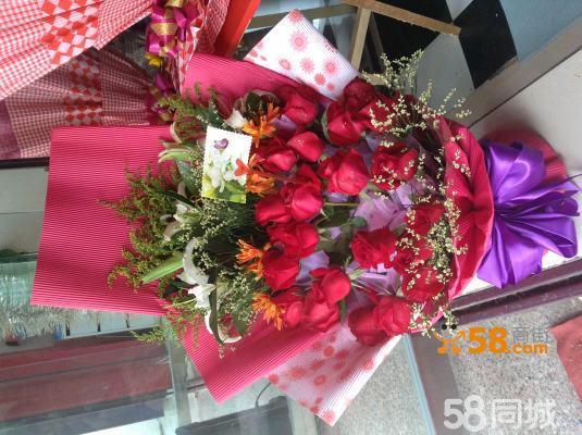 扇形花束玫瑰百合康乃馨送女友送病人送朋友超显大气