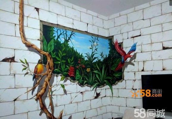 厦门手绘墙绘 客厅卧室 沙发背景 壁画