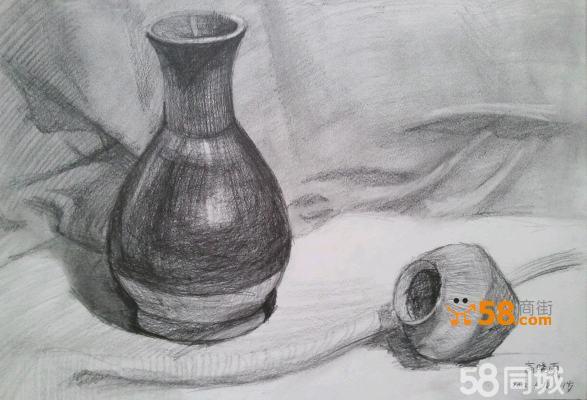 罐子瓶子素描静物 素描画静物瓶子罐子 静物素描罐子图片大全